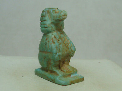 Ancient Egyptian god Thoth / Baboon (seated) - Amulet (Faience)
