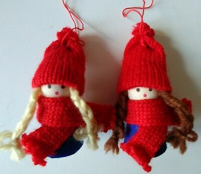 10 x ditsy FESTIVE winter GIRL children CHRISTMAS TREE DECORATIONS handcrafted