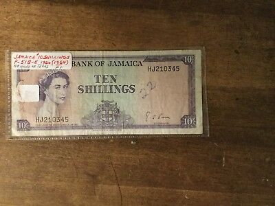 Jamaica Banknote Queen Elizabeth 10 Shillings 1960 1964 P51Be