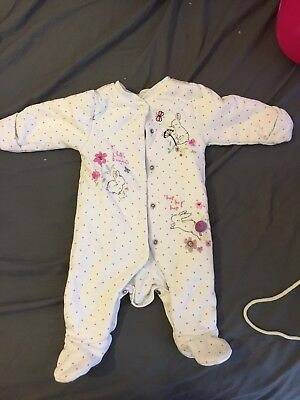 Baby Girl Little Bunnies Winter Babygrow From Mothercare Size 0-3 Months