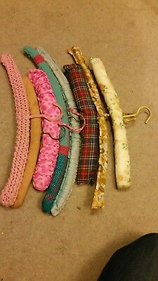 Clothes hangers Vintage padded, covered in original material x 8