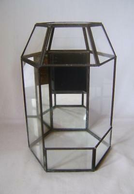 Beautiful Leaded Stained Glass Terrarium  Hexagonal in Shape with Mirror Back