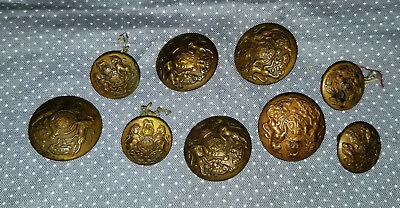 Set of 9 Antique Brass Buttons Shank Back Cheney B'Ham/Lion/H Allday Coat of Arm