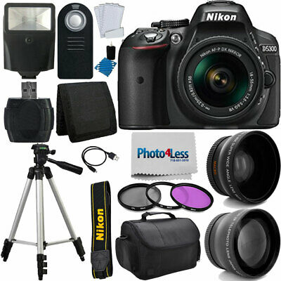 Nikon D5300 Digital SLR Camera Body 3 Lens Kit 18-55mm Lens + 16GB Top Value