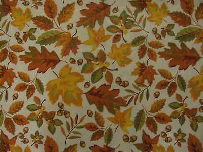 Fall Leaves Acorns Vinyl Tablecloth with Polyester Flannel Backing 8ft x 5ft