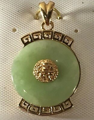 #14k solid Gold Pendant Carved High-Quality Jade Jewelry Miniature RARE H146