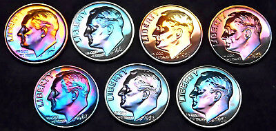 1953,56,58,59,61,67,91  Roosevelt Dime Proof Lot (7) Full Stage toning 8 14 1