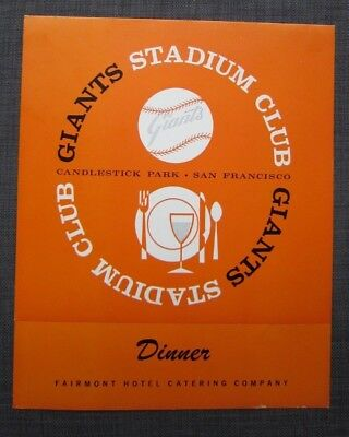 Rare 1960s SF Candlestick park GIANTS Stadium Club Dinner Menu by Fairmont Hotel
