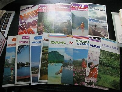 14 Vintage Travel Brochures Hawaii Hawaiian Airlines Surfing Maps