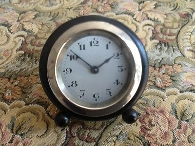 Pretty, Vintage, Small Round Ebony Wind Up Clock, Plated Brass Bezel.