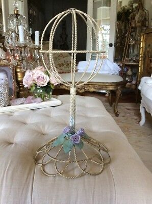 Vtg Style Hat Stand Purple Porcelain Roses wire metal display stand