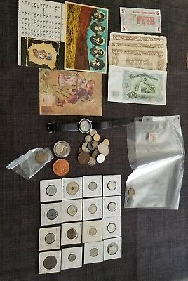 JUNK DRAWER LOT..Jewelry, U.S.A. and foreign coins  swastika, stamps and more.