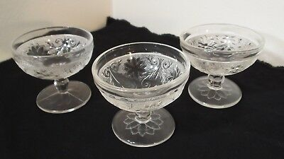 Lot of 3 Vintage Indiana Glass Dessert Cups Clear Glass Sandwich Pattern