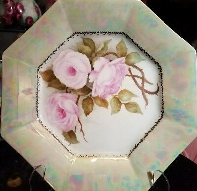 Vintage Unmarked Hand-painted Octagon Plate - lustre & roses