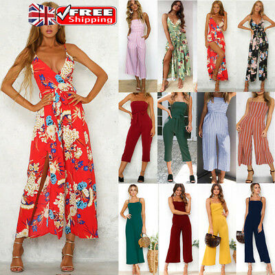 Uk Ladies Womens Sleeveless Slip Jumpsuit Clubwear Wide Leg Pants Summer Outfits