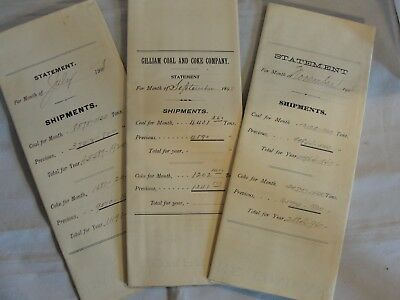 3 Antique Powhatan Coal And Coke Company Statements - 1898, 1906 & 1908 - I270