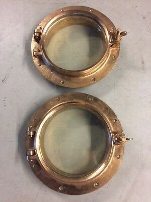 Matching Pair Old Antique Bronze 13+ Inch Ship Portholes ! - Great Deal !