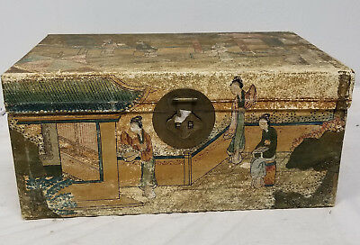 Antique Chinese Scroll Painting Decorated Camphor Chest Trunk Case