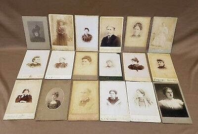 Lot of 18 Antique Cabinet Cards Photos Women Ladies Girls Fancy Hair & Dresses