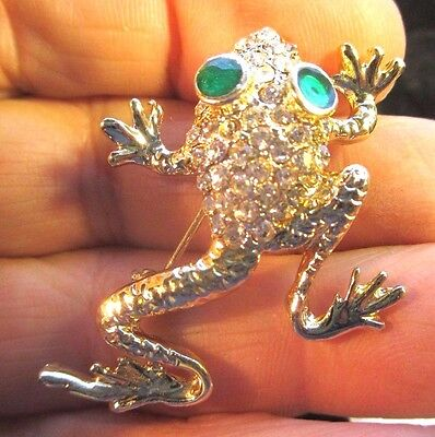 Vintage Frog Pin Totally Covered With Austrian Crystals and Two Green Eyes