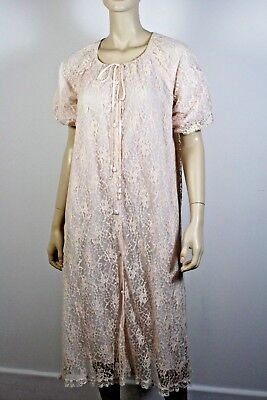 VINTAGE Lace Dressing Gown Pale Pink Size small -medium