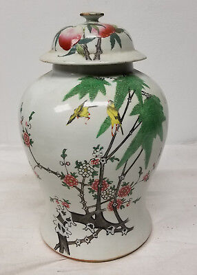 Antique Republic Style Chinese Enameled Baluster Vase Finches 20th Century