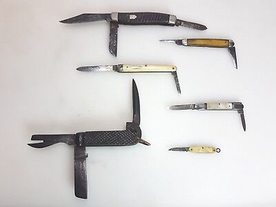 5 Vintage Horn,mother Of Pearl Folding Pen Knives & Wwii Australian Clasp Knife