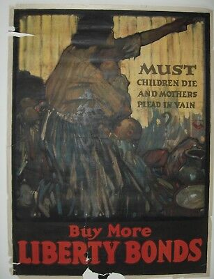 Original Vintage WWI, World War I Poster, MUST CHILDREN DIE, H P Raleigh, 1918