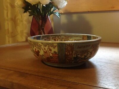 """Vintage 8.5"""" Asian Oriental Chinese Hand Painted Large Bowl with Village Scene"""