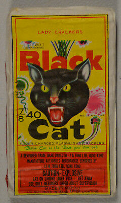 Black Cat Brand Firecracker Pack label lady fingers 40s DOT Macau