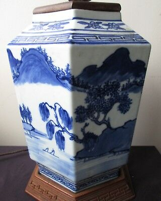 Antique old RARE Chinese Blue & White Porcelain 6 sided LAMP w Landscape Scenes