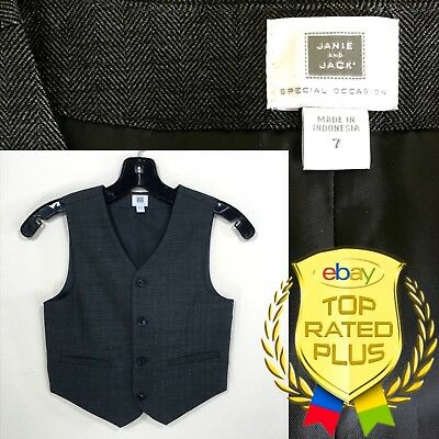 Janie And Jack Special Occasion Gray Suit Vest Boys Size 7 (C935)