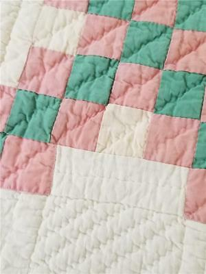 TRIPLE IRISH CHAIN QUILT - GORGEOUS COLORS - PINK and TEAL-GREEN
