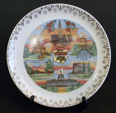 """OHIO Souvenir Plate Gold Trim - 7 1/4"""", Buckeye State, Capitol, Tomb, Tower"""
