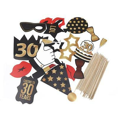 30th Birthday Black Photo Booth Props Kit - Party Camera Props Fully D