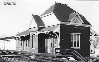 Laurel, Maryland Railroad Depot Real Photo Postcard- RPPC