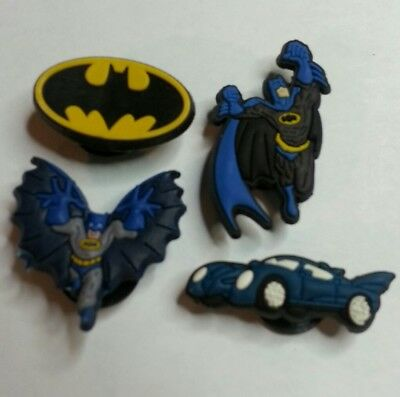 BatMan 4pc SHOE CHARMS LOT FOR CROC SHOES JIBBITZ BRACELETS Superhero Set