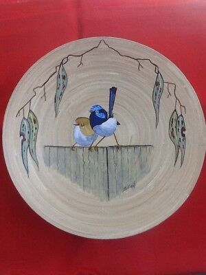 Blue Wrens Hand Painted Acrylic On Wooden Bowl Signed Varnished Ready To Hang