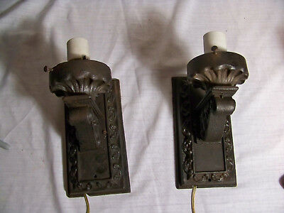 2 Antique Cast Iron Wall Light Sconce Old Architectural