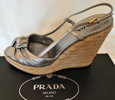 Prada espadrille wedge heels open toe silver shoes, 38.5 8.5, EUC worn 2x, w box