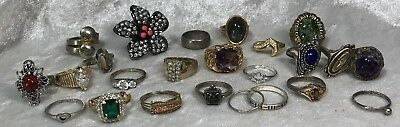 24 Vintage Costume RINGS Ring Size 7.5 Mixed Lot