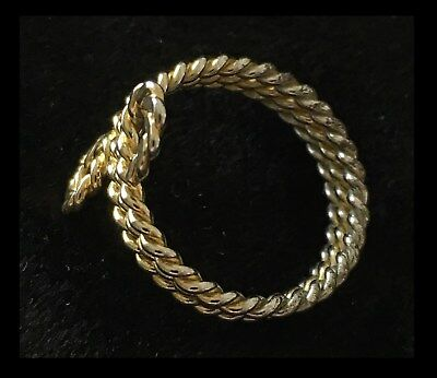 Vintage Gold Tone TWISTED ROPE Expanding Spring WRAP BAND RING Size 7½