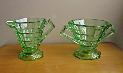Indiana Glass Co.Tea Room Pattern Sugar Bowl &Creamer Depression Glass Beauties!