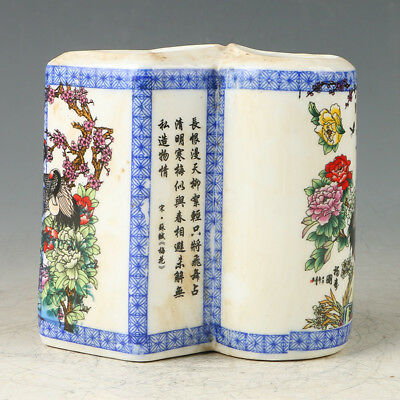 Chinese Porcelain Hand-painted Flowers & Crane Brush Pot W Qianlong Mark GL603