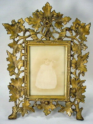 Victorian Cast Iron Picture Easel Frame Reposusse Like Gold Gild/Paint
