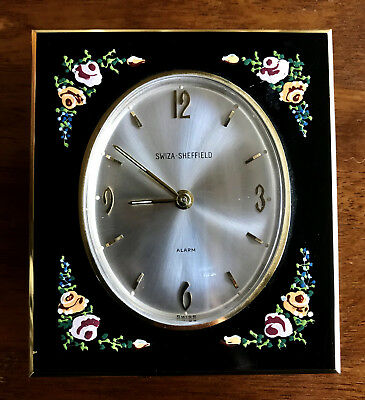 Charming Antique Swiza Sheffield Alarm Clock with stand, hand-painted flowers