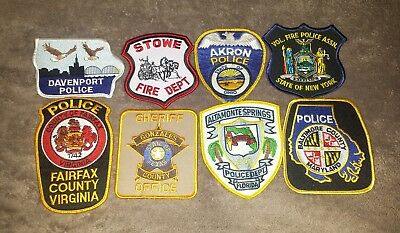 Lot of 8 Police Sheriff Fire EMS Patches Various Agencies 8/18 - 021