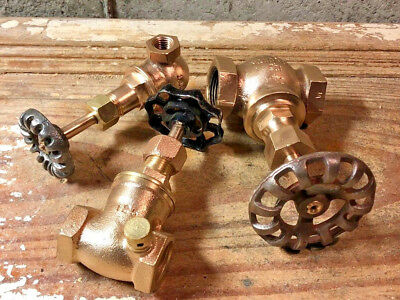 3 Vintage Brass Valve Gate Lot, Antique, Steampunk Lamp Building Parts, Gauge