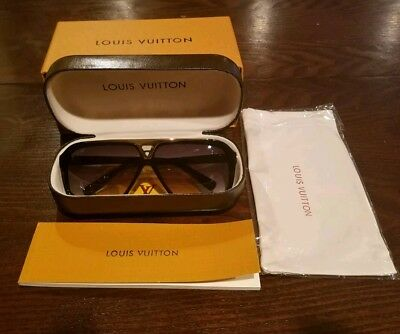 Louis Vuitton Evidence Sunglasses Z0350W Black Gold Monogram