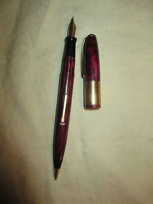 Vintage Wearever Fountain Pen Mechanical Pencil Combo Maroon Stainless Nib